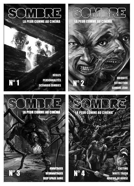 Les numéros 1, 2,3 et 4 de la revue Sombre